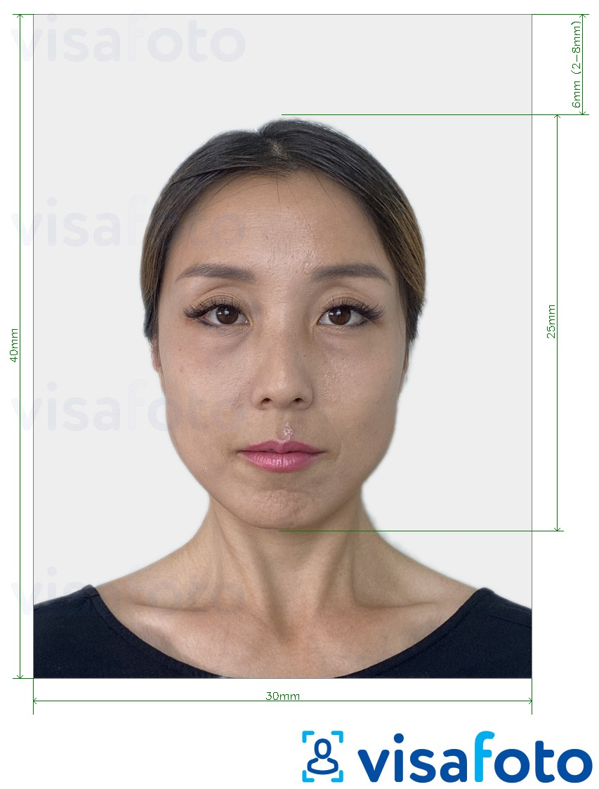 Example of photo for Japan Residence Card or Certificate of Eligibility 30x40 mm with exact size specification