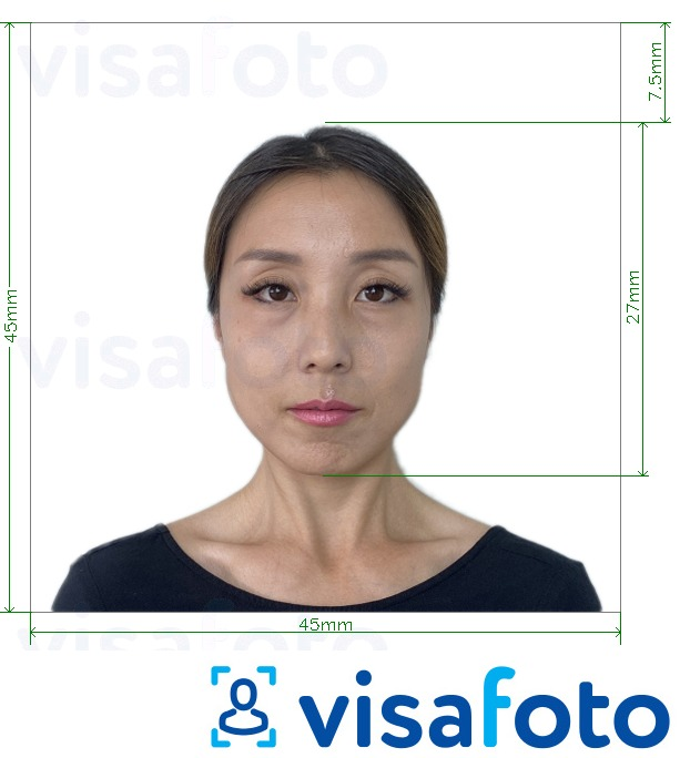 Example of photo for Japan Visa 45x45mm, head 27 mm with exact size specification