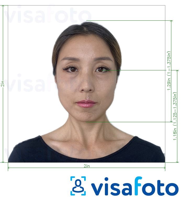 Example of photo for Japan Visa 2x2 inch (standard visa from the US) with exact size specification