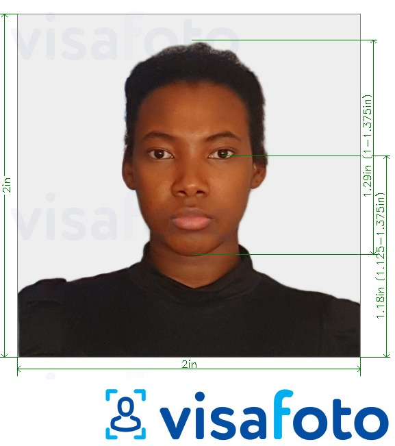 Example of photo for Eastern Africa visa photo 2x2 inch (Kenya) (51x51mm, 5x5 cm) with exact size specification