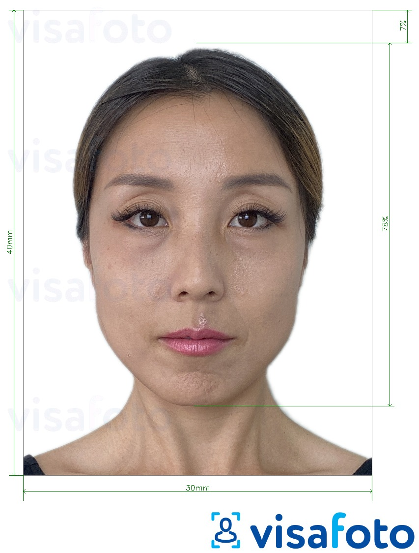 Example of photo for South Korea Alien Registration 3x4 cm (30x40 mm) with exact size specification