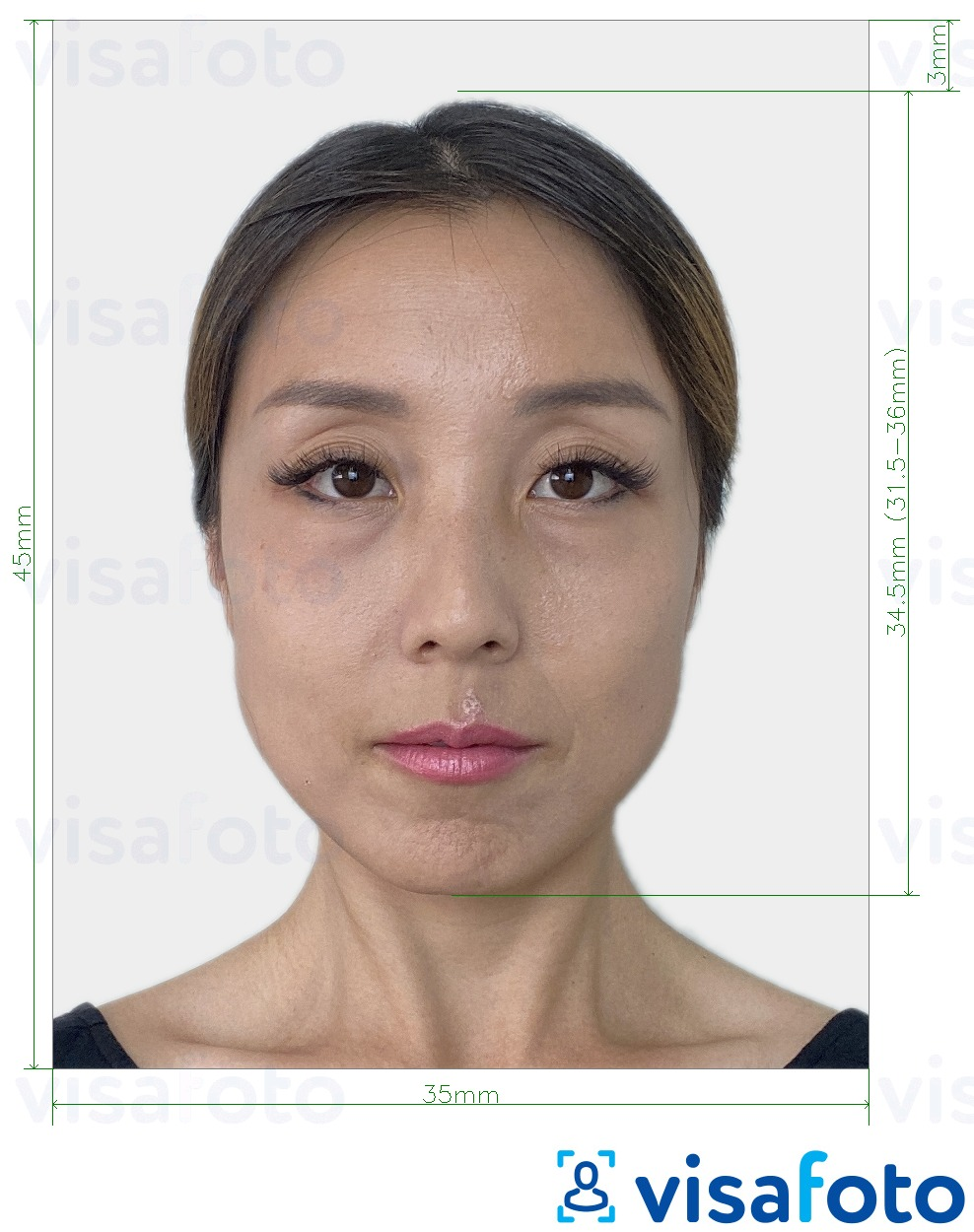Example of photo for South Korea passport 35x45 mm (3.5x4.5 cm) with exact size specification