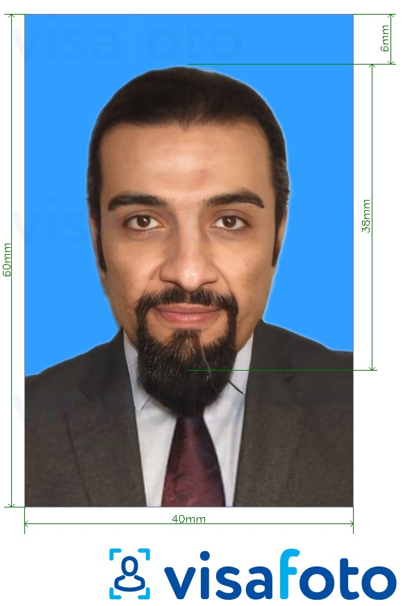 Example of photo for Kuwait work permit 4x6 cm (40x60 mm) with exact size specification