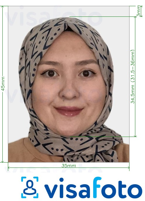Example of photo for Kazakhstan Passport 35x45 mm (3.5x4.5 cm) with exact size specification