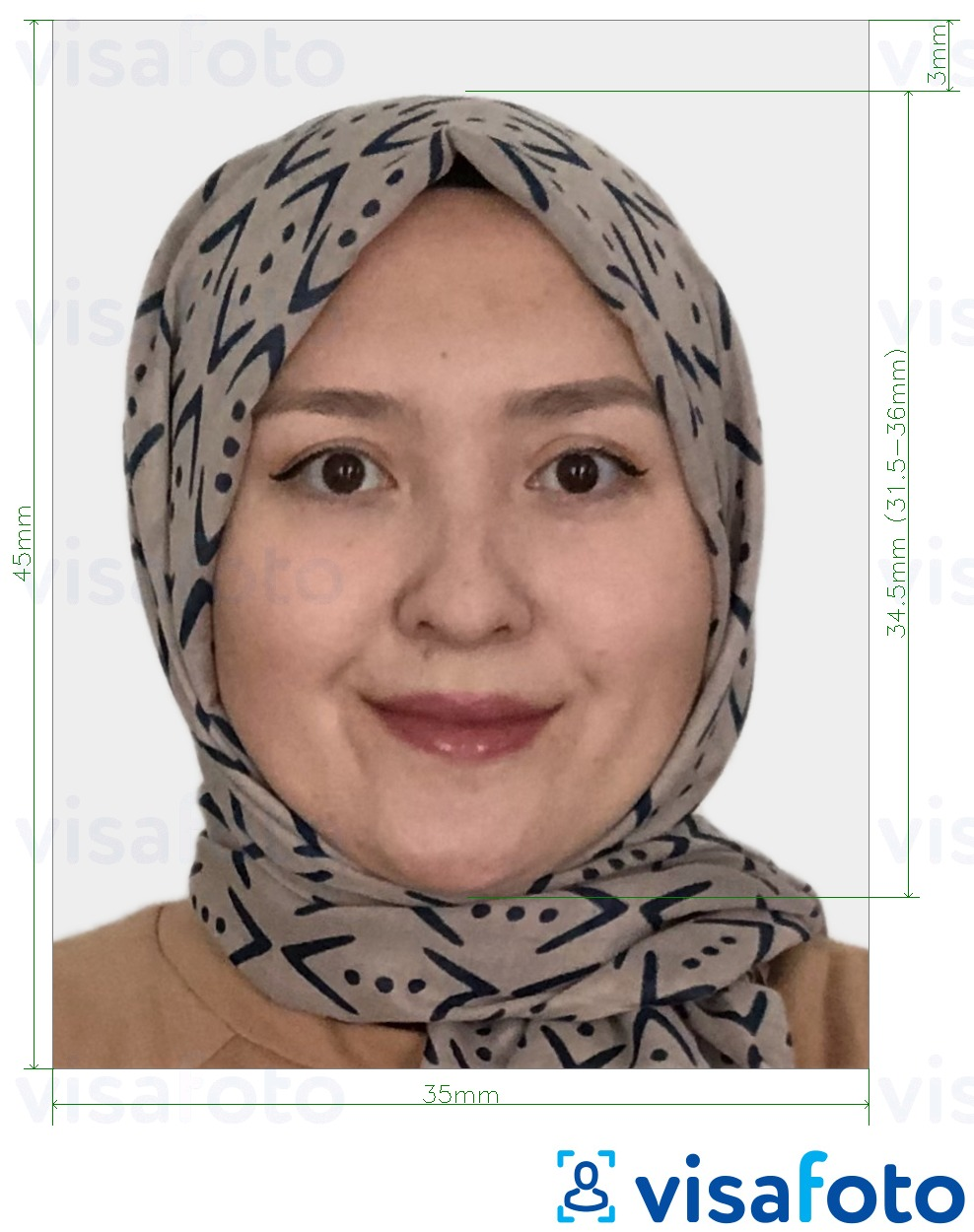 Example of photo for Kazakhstan Visa 35x45 mm (3.5x4.5 cm) with exact size specification