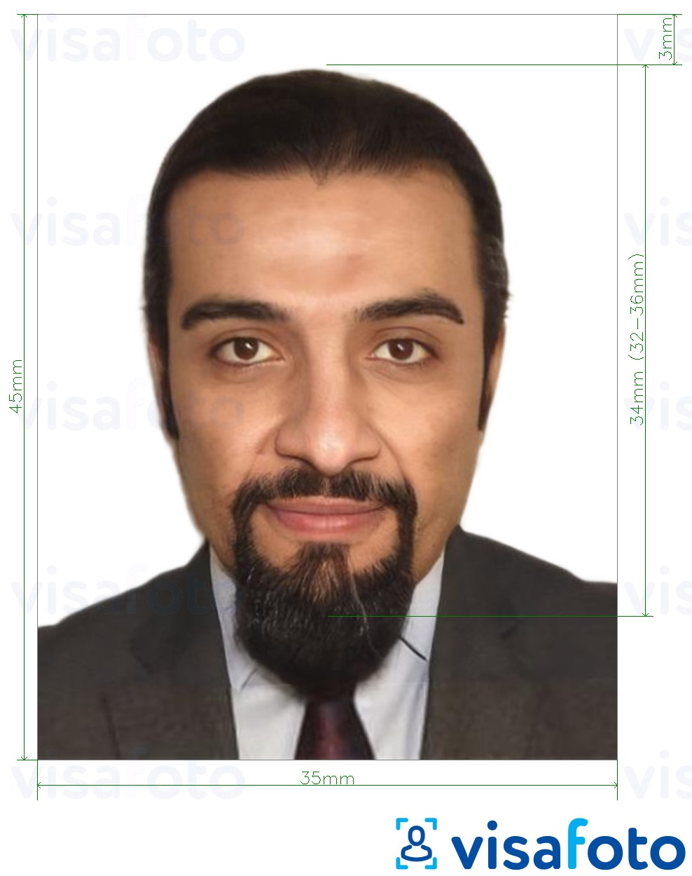 Example of photo for Lebanon passport 3.5x4.5 cm (35x45 mm) with exact size specification