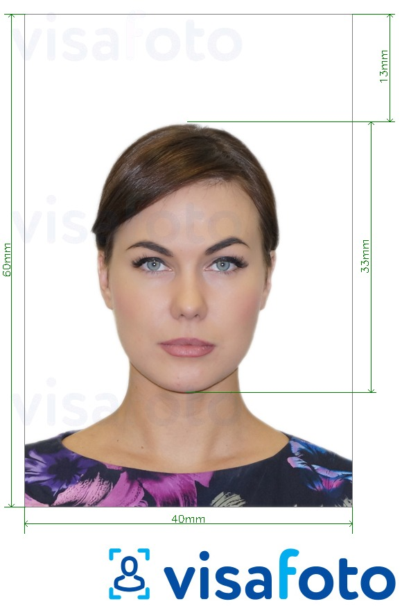Example of photo for Lithuania passport 40x60 mm (4x6 cm) with exact size specification