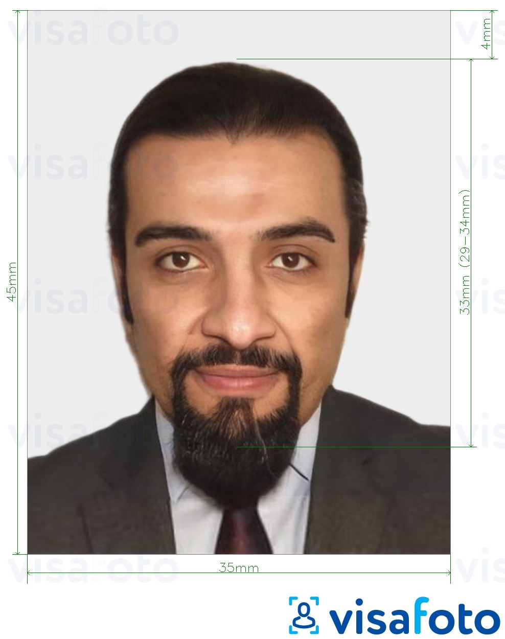 Example of photo for Morocco National ID Card 35x45 mm (3.5x4.5 cm) with exact size specification