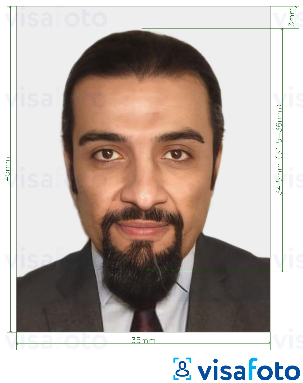 Example of photo for Mauritania passport 35x45 mm (3.5x4.5 cm) with exact size specification