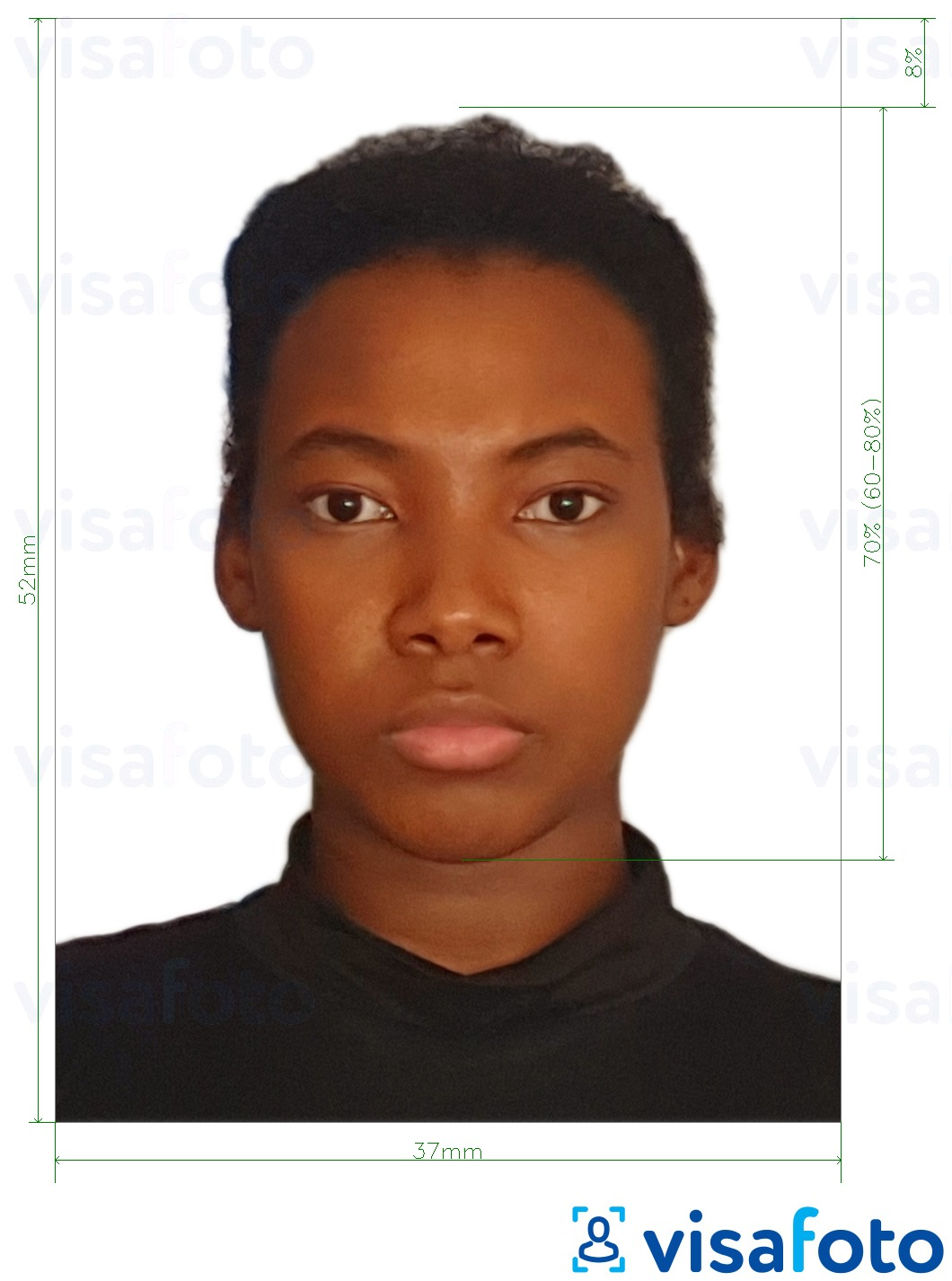 Example of photo for Namibia passport 37x52mm (3.7x5.2 cm) with exact size specification