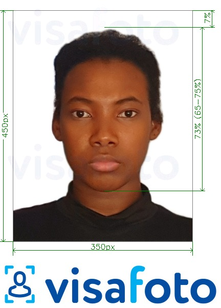 Example of photo for Nigeria online visa 200-450 pixels with exact size specification