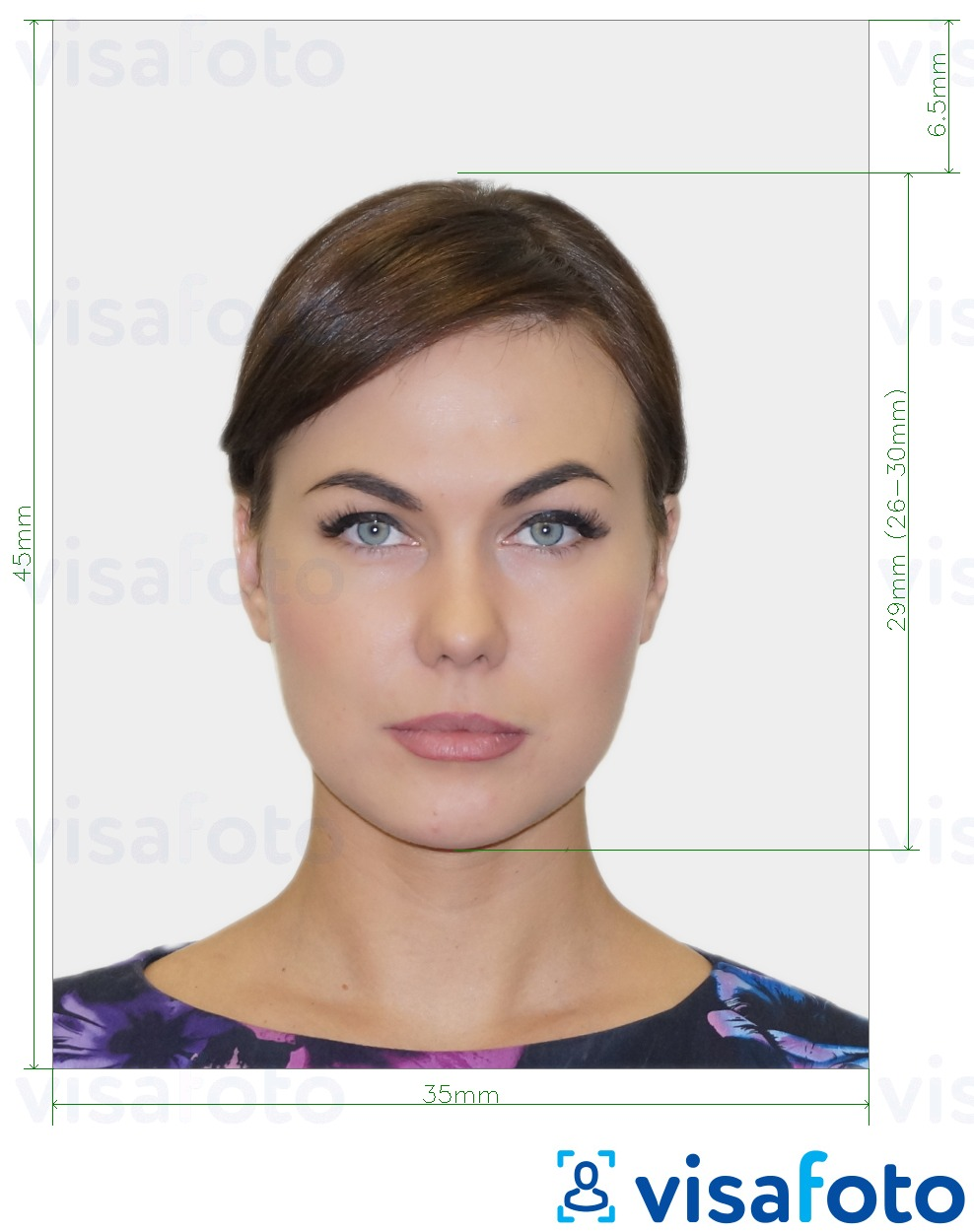 Example of photo for Netherlands Passport 35x45 mm (3.5x4.5 cm) with exact size specification