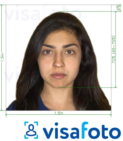 Example of photo for Nepal online visa 1.5x1.5 inches with exact size specification