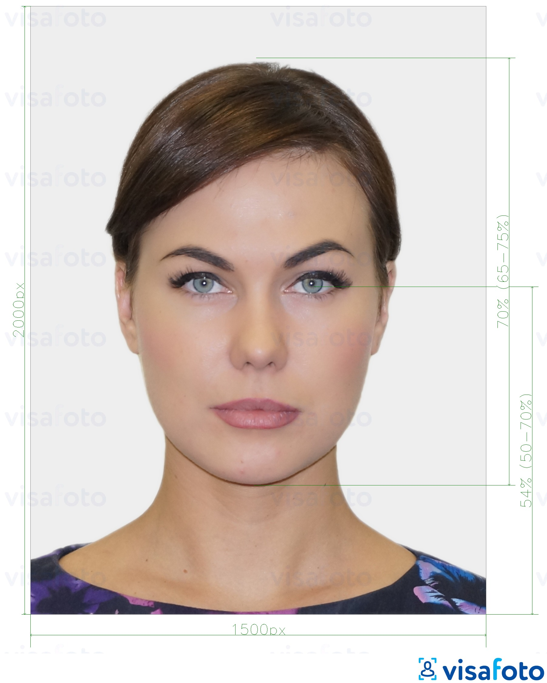 Example of photo for New Zealand Passport Online Application with exact size specification