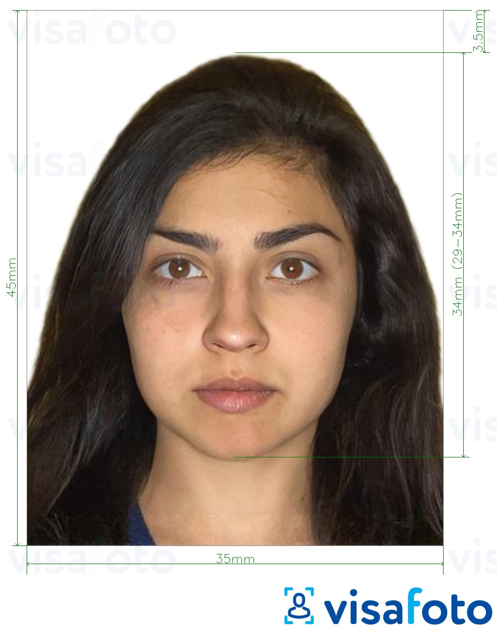 Example of photo for Pakistan National ID card (NADRA, NICOP) 35x45 mm with exact size specification