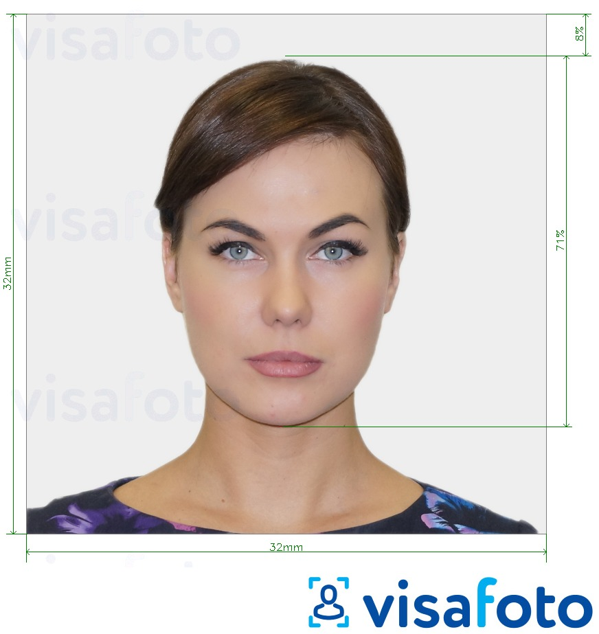 Example of photo for Portuguese ID card 32x32 mm with exact size specification