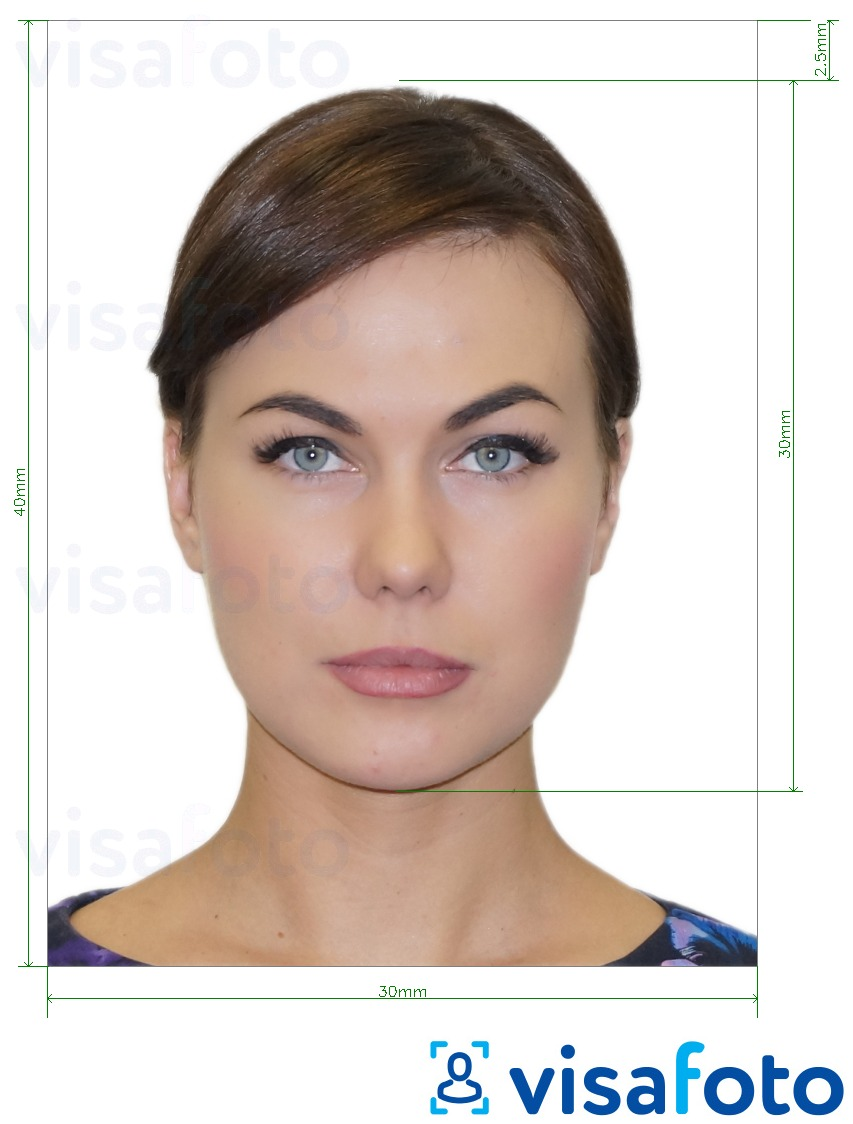 Example of photo for Romania ID card 3x4 cm (30x40 mm) with exact size specification
