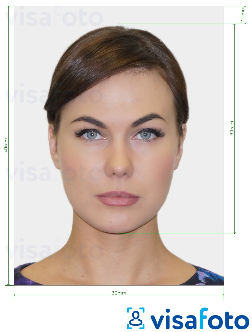 Example of photo for Romania Visa 30x40 mm (3x4 cm) with exact size specification