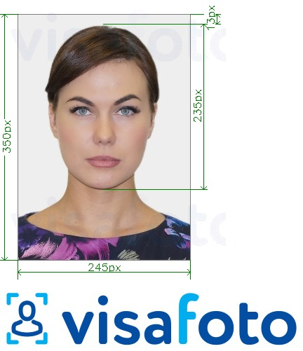 Example of photo for Russia Driving License Gosuslugi 245x350 px with exact size specification