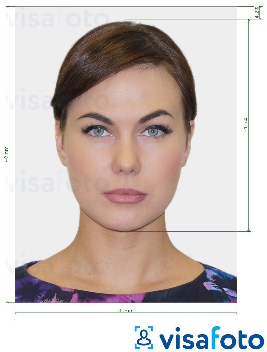 Example of photo for Moscow social card 3x4 cm with exact size specification