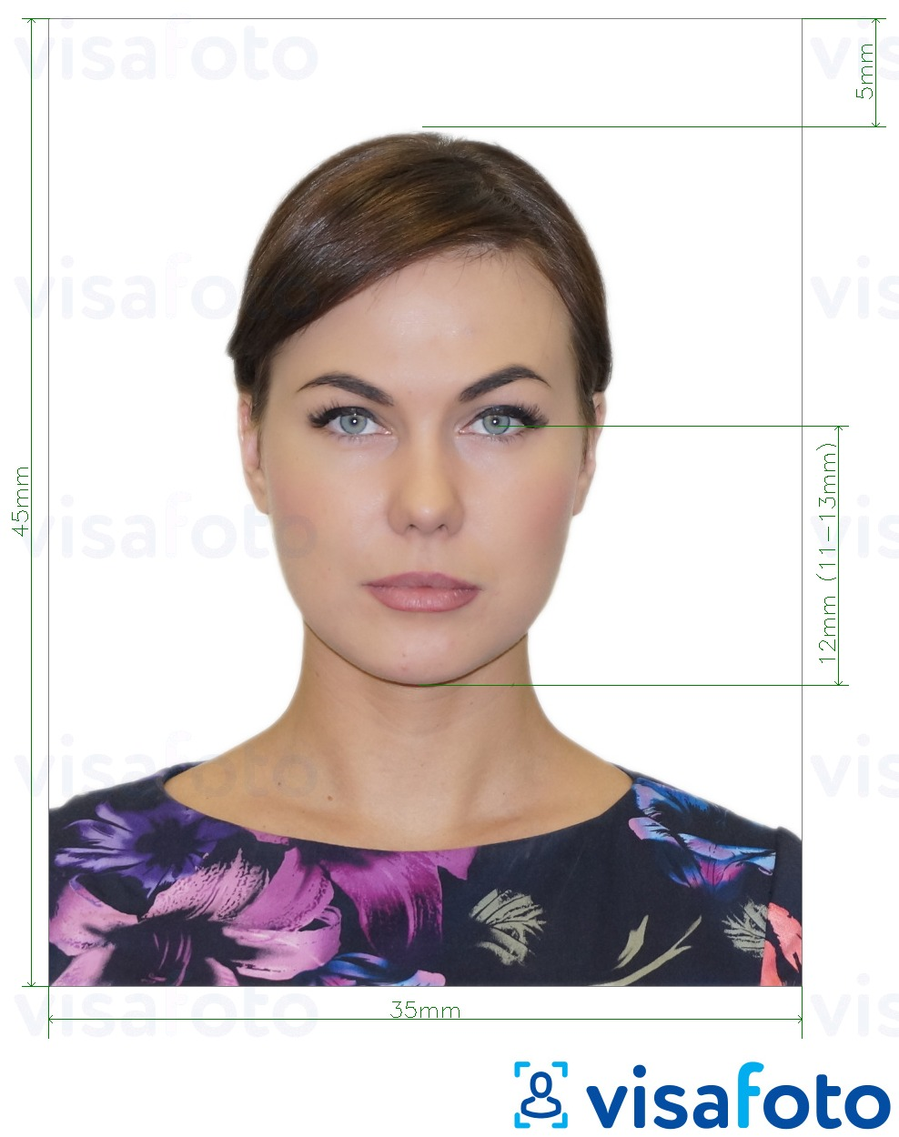 Example of photo for Russia Passport (eyes to bottom of chin 12 mm), 35x45 mm with exact size specification