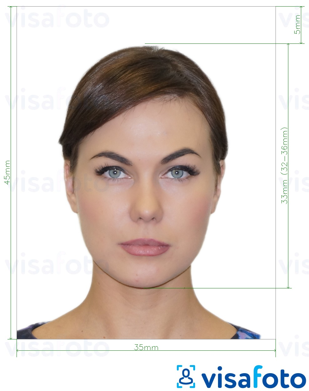 Example of photo for Russia International Passport application with exact size specification