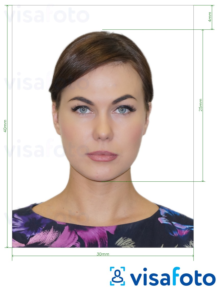 Example of photo for Russia Student ID 3x4 with exact size specification