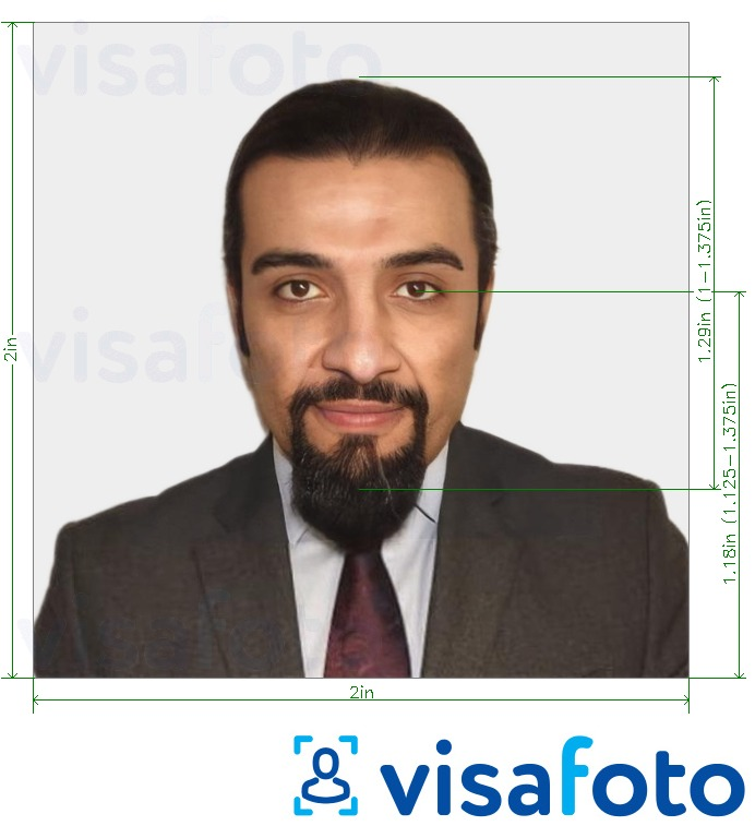 Example of photo for Saudi Arabia visa 2x2 inches (51x51 mm) with exact size specification