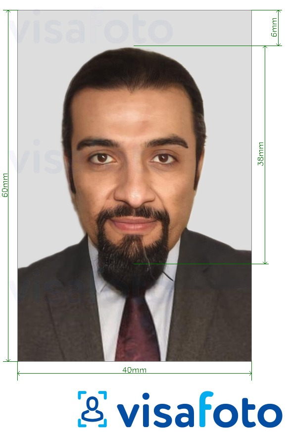 Example of photo for Saudi Arabia work permit 4x6 cm with exact size specification