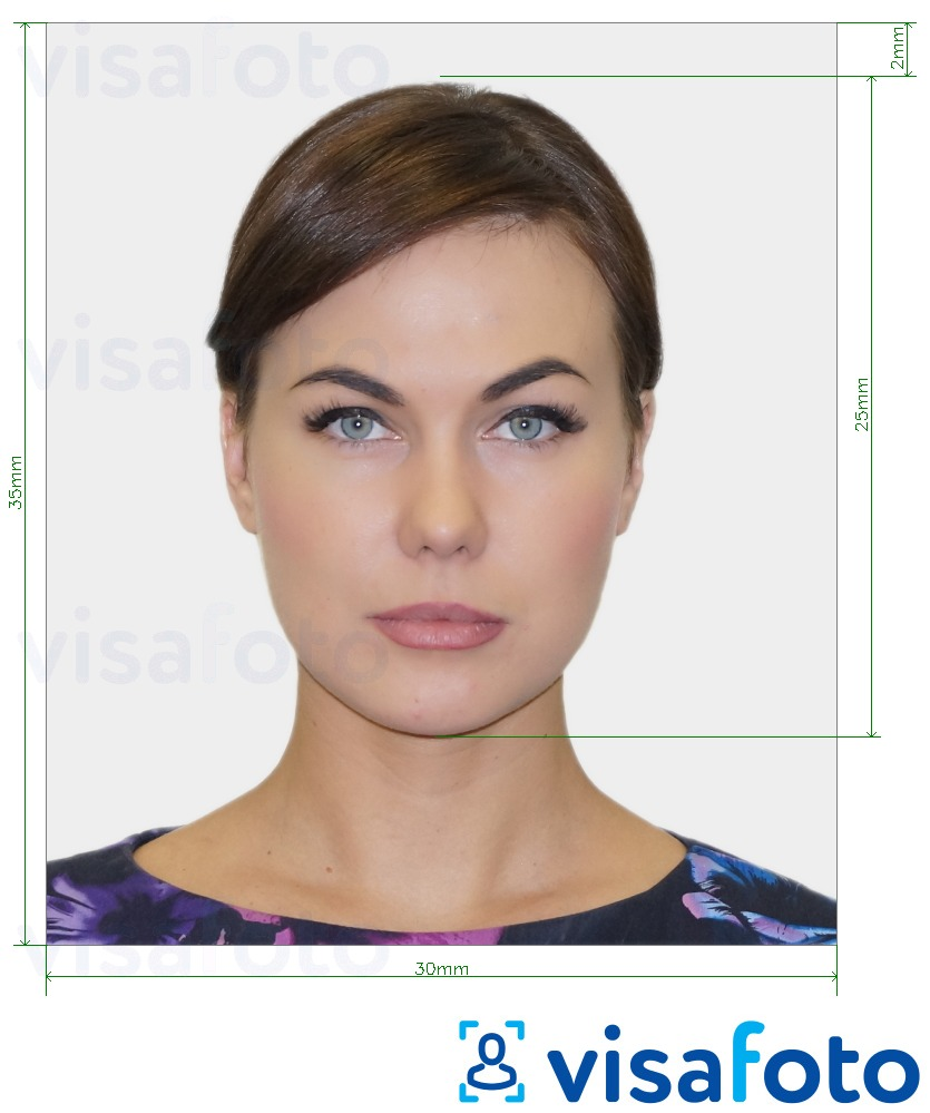 Example of photo for Slovakia ID card 30x35 mm (3x3.5 cm) with exact size specification