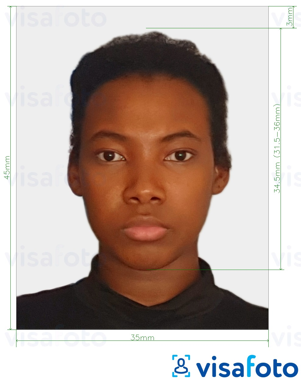 Example of photo for Suriname passport 45x35 mm (1.77x1.37 inch) with exact size specification