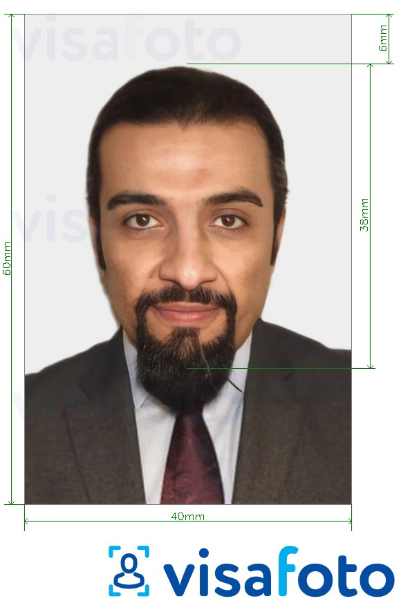 Example of photo for Syrian visa 40x60 mm (4x6 cm) with exact size specification