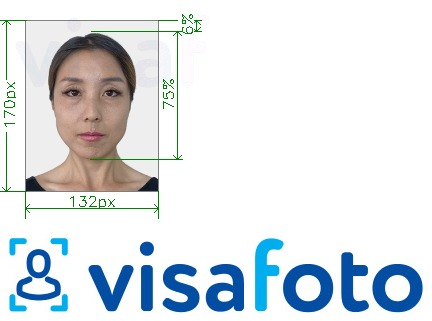 Example of photo for Thailand e-visa 132x170 pixel with exact size specification