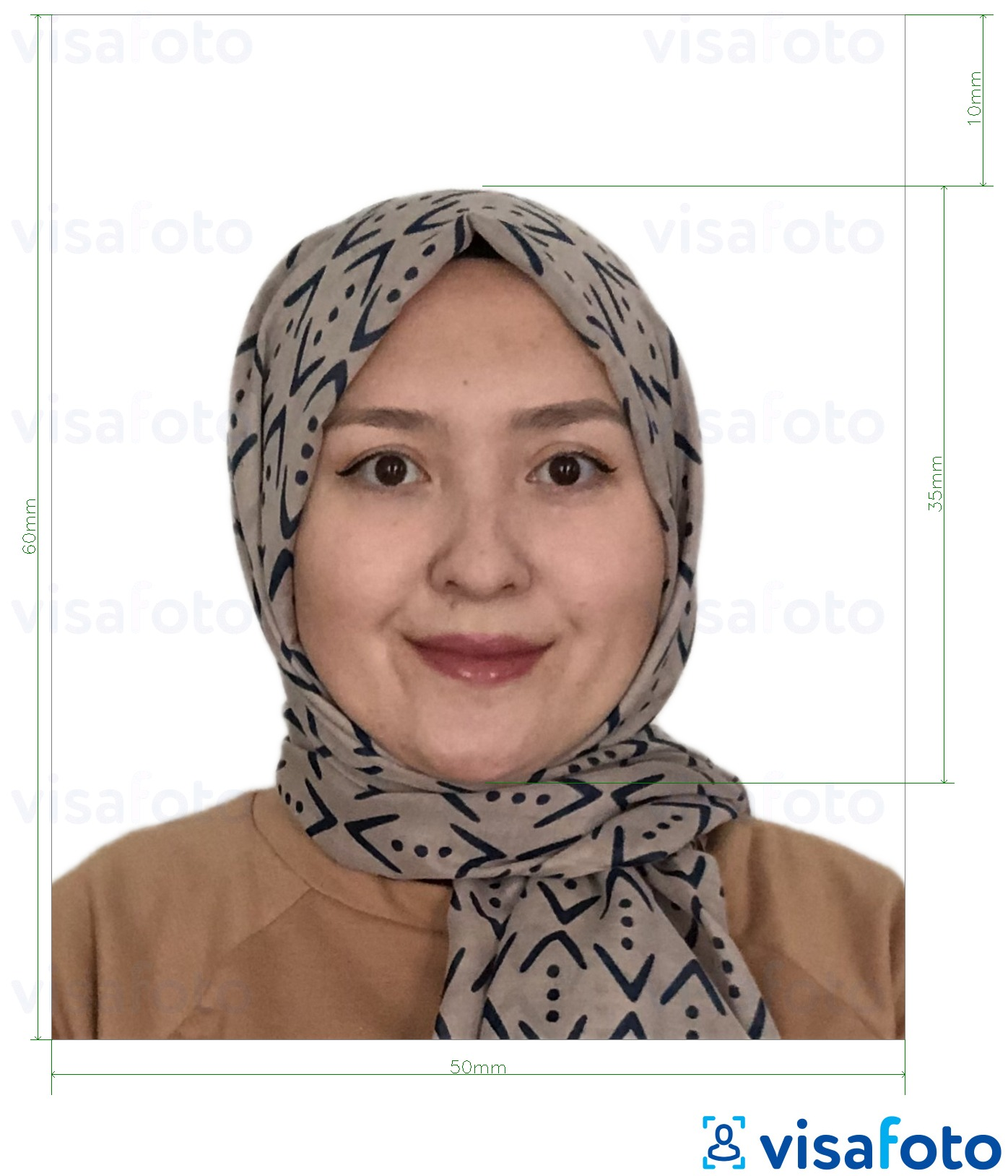 Example of photo for Turkmenistan visa 5x6 cm (50x60 mm) with exact size specification