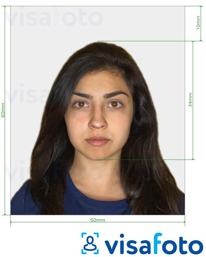 Example of photo for Turkey Visa 50x60 mm (5x6 cm) with exact size specification