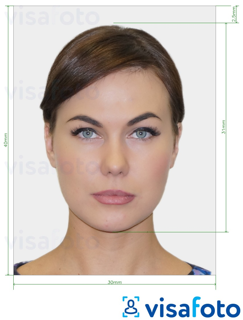 Example of photo for Ukraine Visa 3x4 cm (30x40 mm) with exact size specification