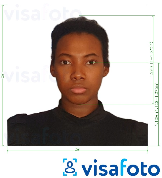 Example of photo for Uganda visa photo 2x2 inch (51x51mm, 5x5 cm) with exact size specification