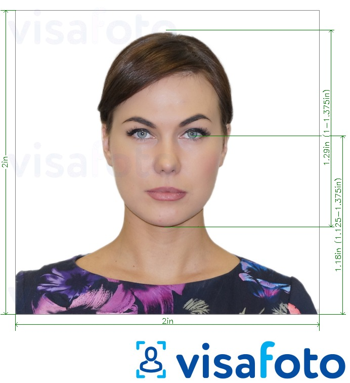 Example of photo for US Passport 2x2 inch (51х51 mm) with exact size specification