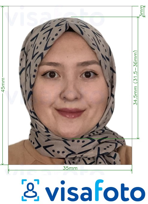 Example of photo for Uzbekistan visa 3.5x4.5 cm (35x45 mm) with exact size specification