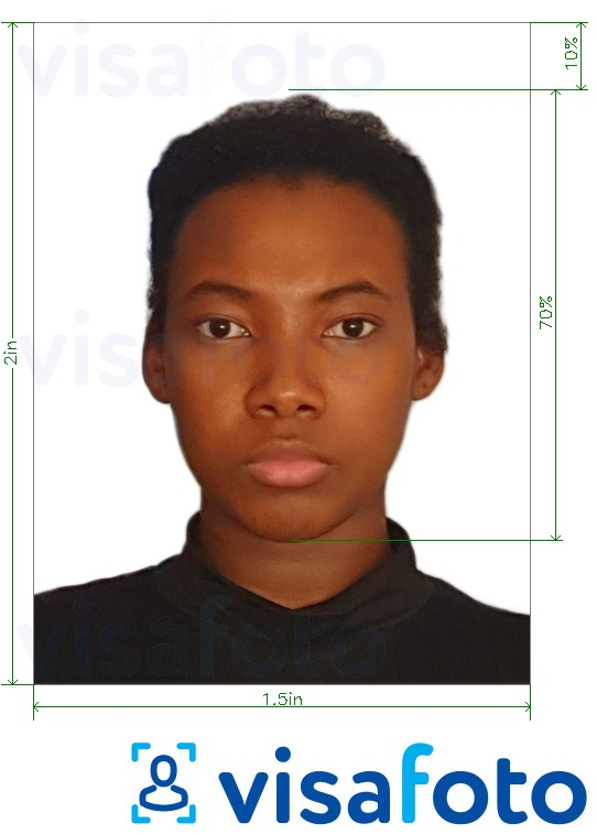 Example of photo for Zambia passport 1.5x2 inches (51x38 mm) with exact size specification
