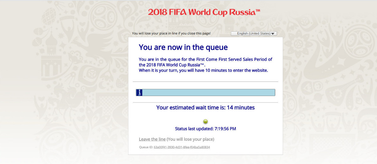 FIFA 2018 World Cup tickets queue