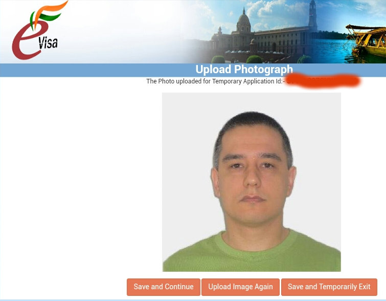 India visa photo result screen
