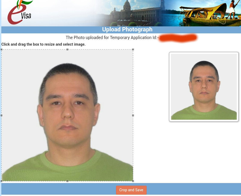 India visa photo upload screen
