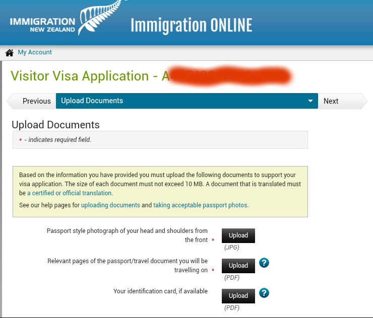 New Zealand visa photo application screen