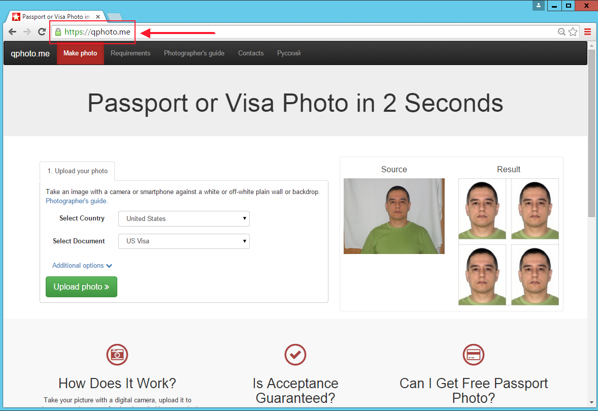 Qphoto.me make passport and visa photo online