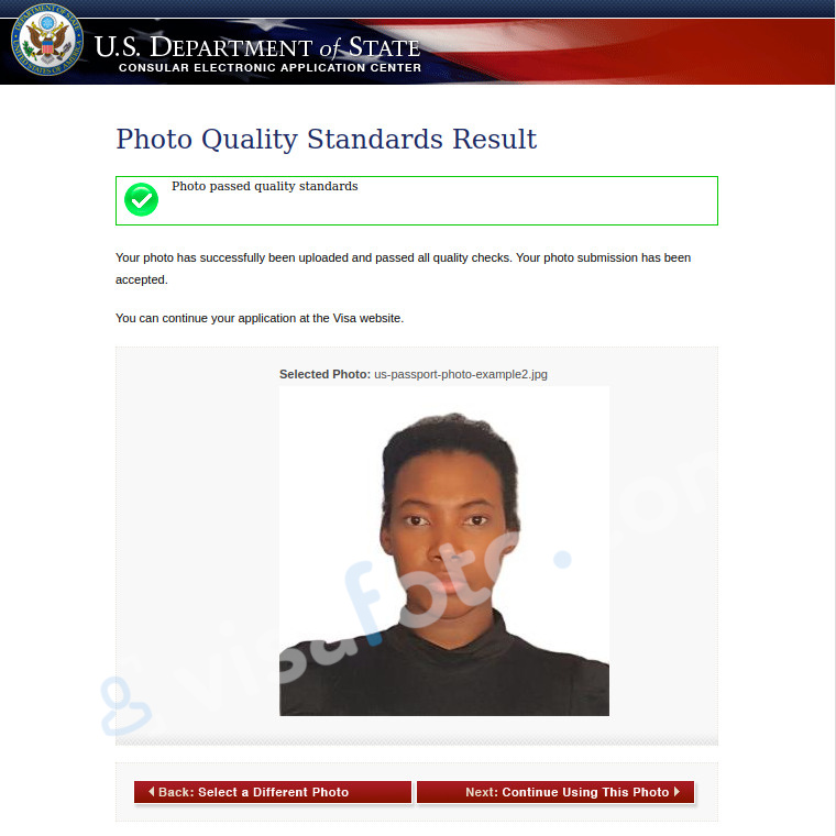 Another USA passport photo passes checks at the Department of State website