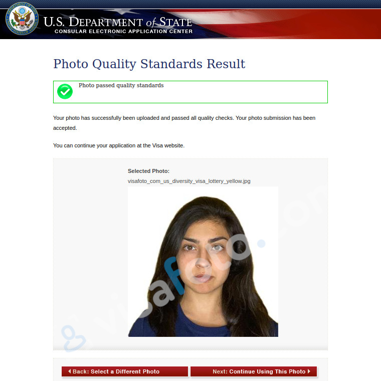 USA passport photo passes checks at the Department of State website