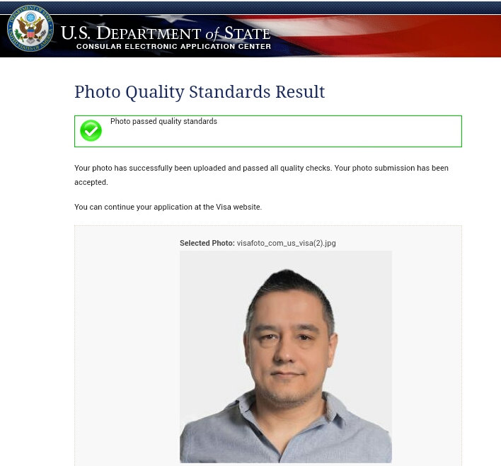 US visa photo upload success screen